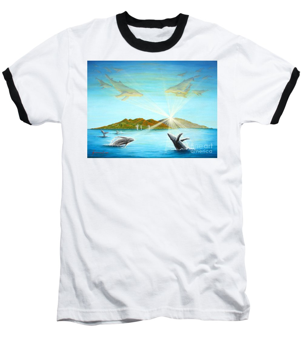 Whales Baseball T-Shirt featuring the painting The Whales Of Maui by Jerome Stumphauzer