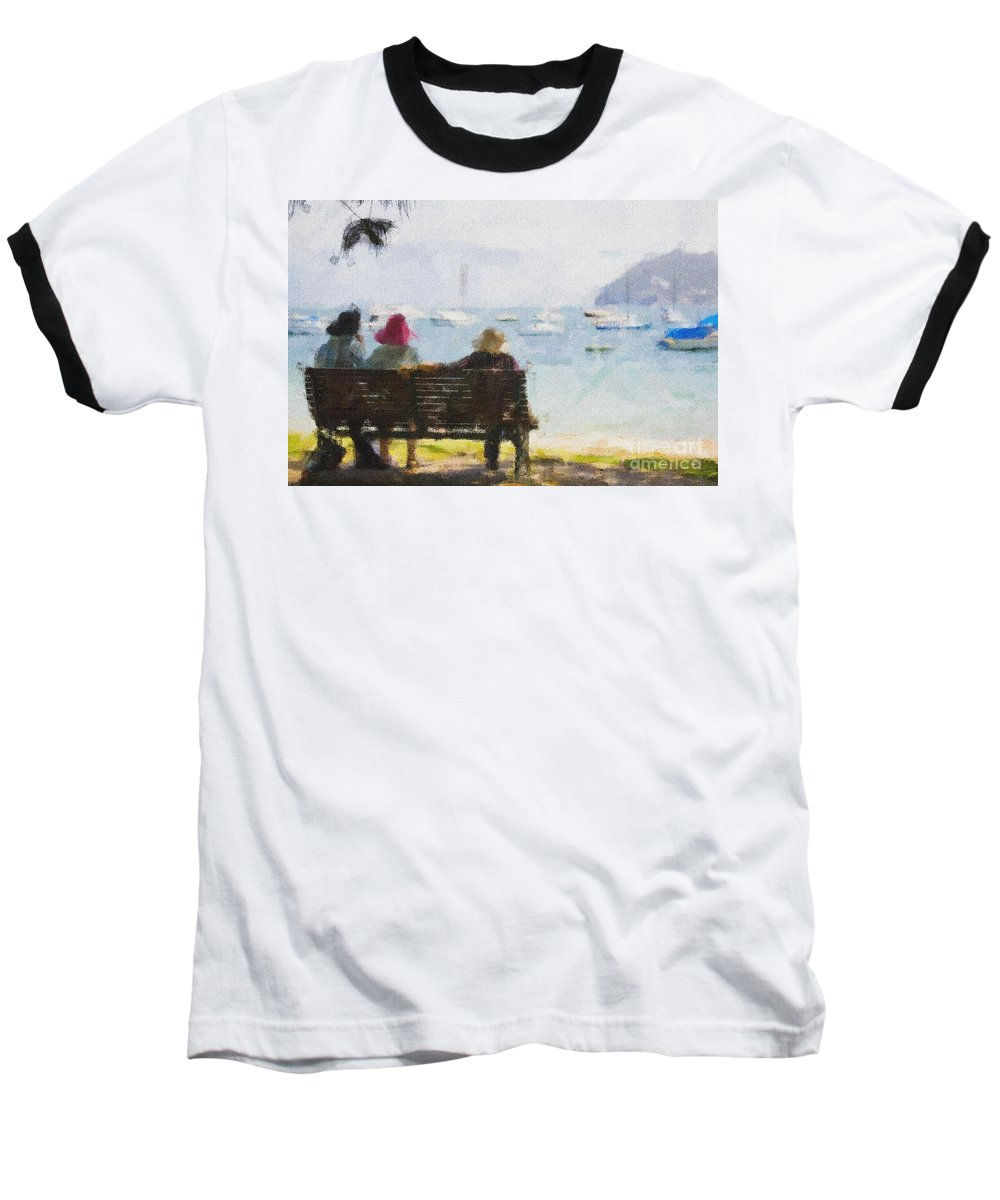 Impressionism Impressionist Water Boats Three Ladies Seat Baseball T-Shirt featuring the photograph Three Ladies by Sheila Smart Fine Art Photography