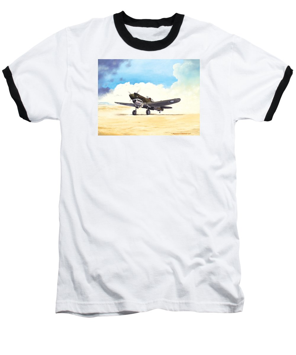 Aviation Baseball T-Shirt featuring the painting Tiger Scramble by Marc Stewart