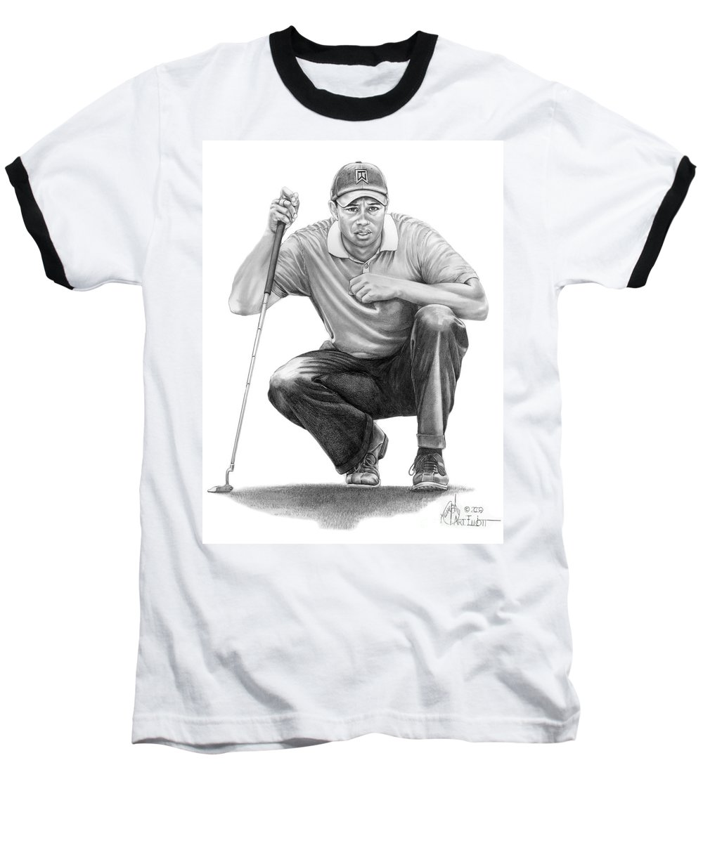 Pencil Baseball T-Shirt featuring the drawing Tiger Woods Crouching Tiger by Murphy Elliott