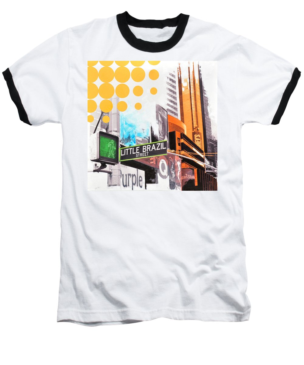 Ny Baseball T-Shirt featuring the painting Times Square Little Brazil by Jean Pierre Rousselet