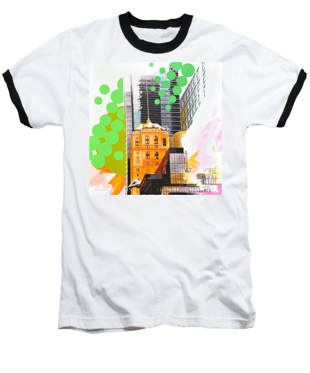 Ny Baseball T-Shirt featuring the painting Times Square Ny Advertise by Jean Pierre Rousselet