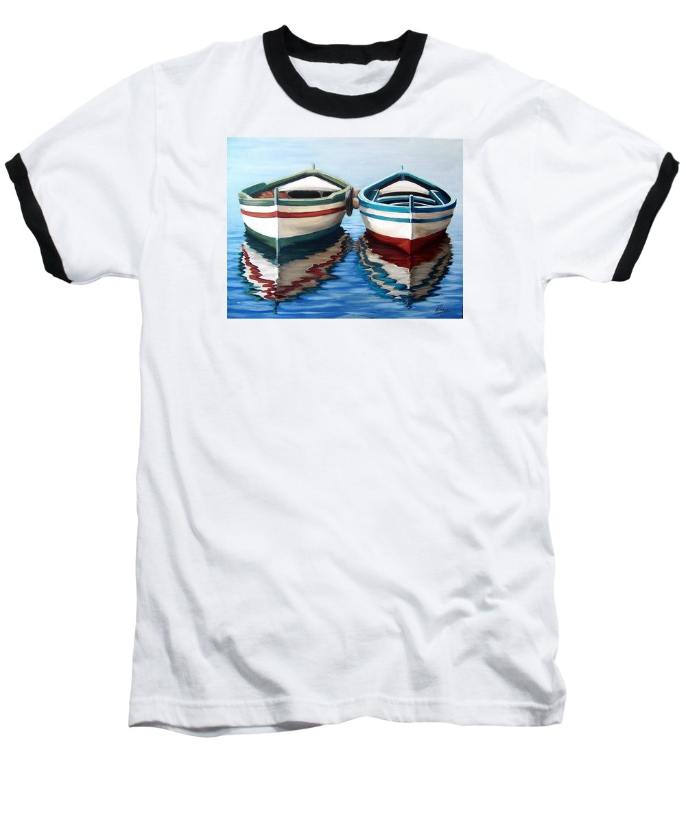 Seascape Sea Boat Reflection Water Ocean Baseball T-Shirt featuring the painting Together by Natalia Tejera