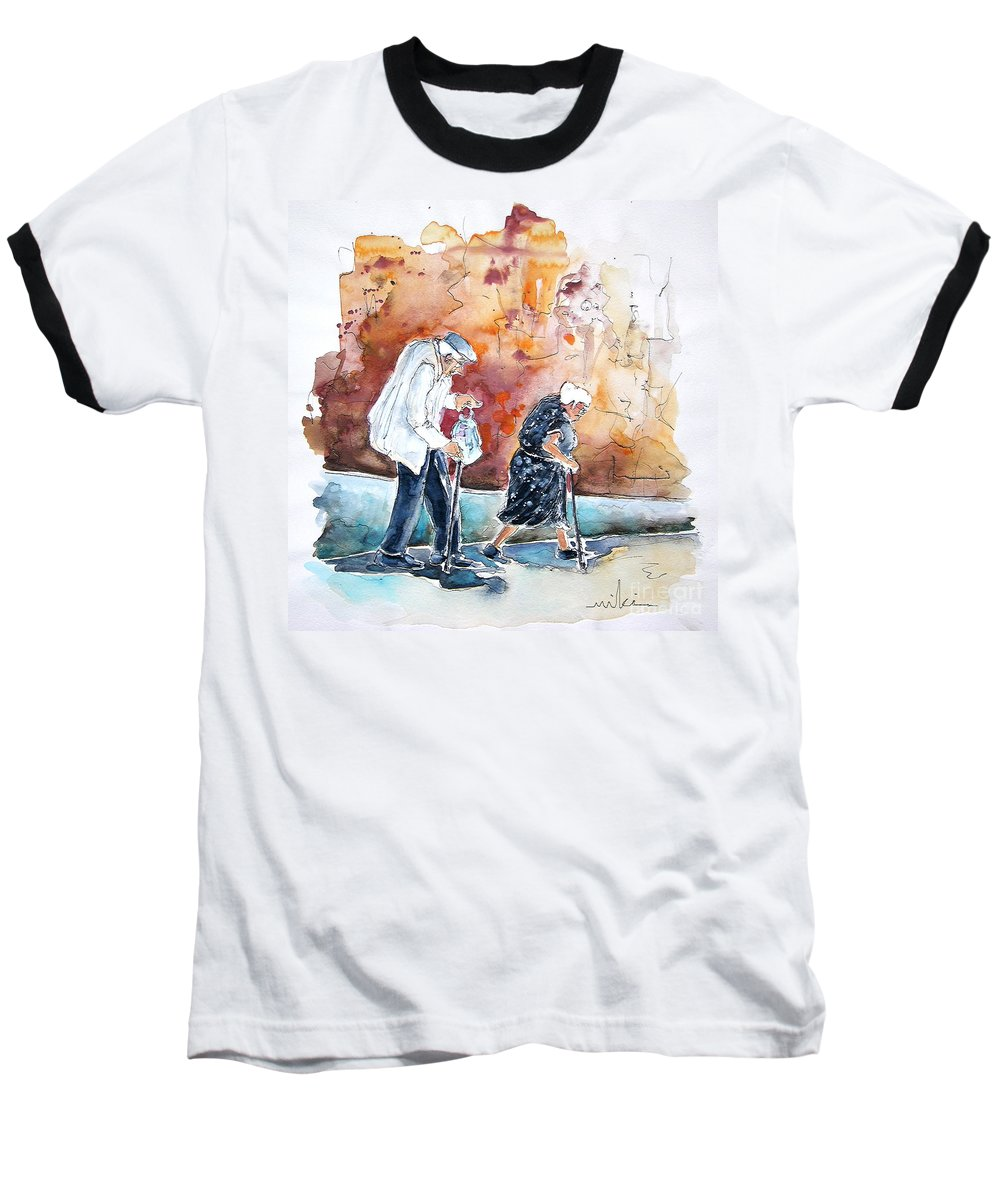Portugal Paintings Baseball T-Shirt featuring the painting Together Old In Portugal 01 by Miki De Goodaboom