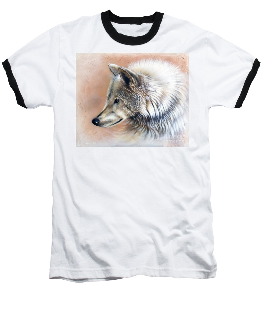 Wolves Baseball T-Shirt featuring the painting Trace IIi by Sandi Baker