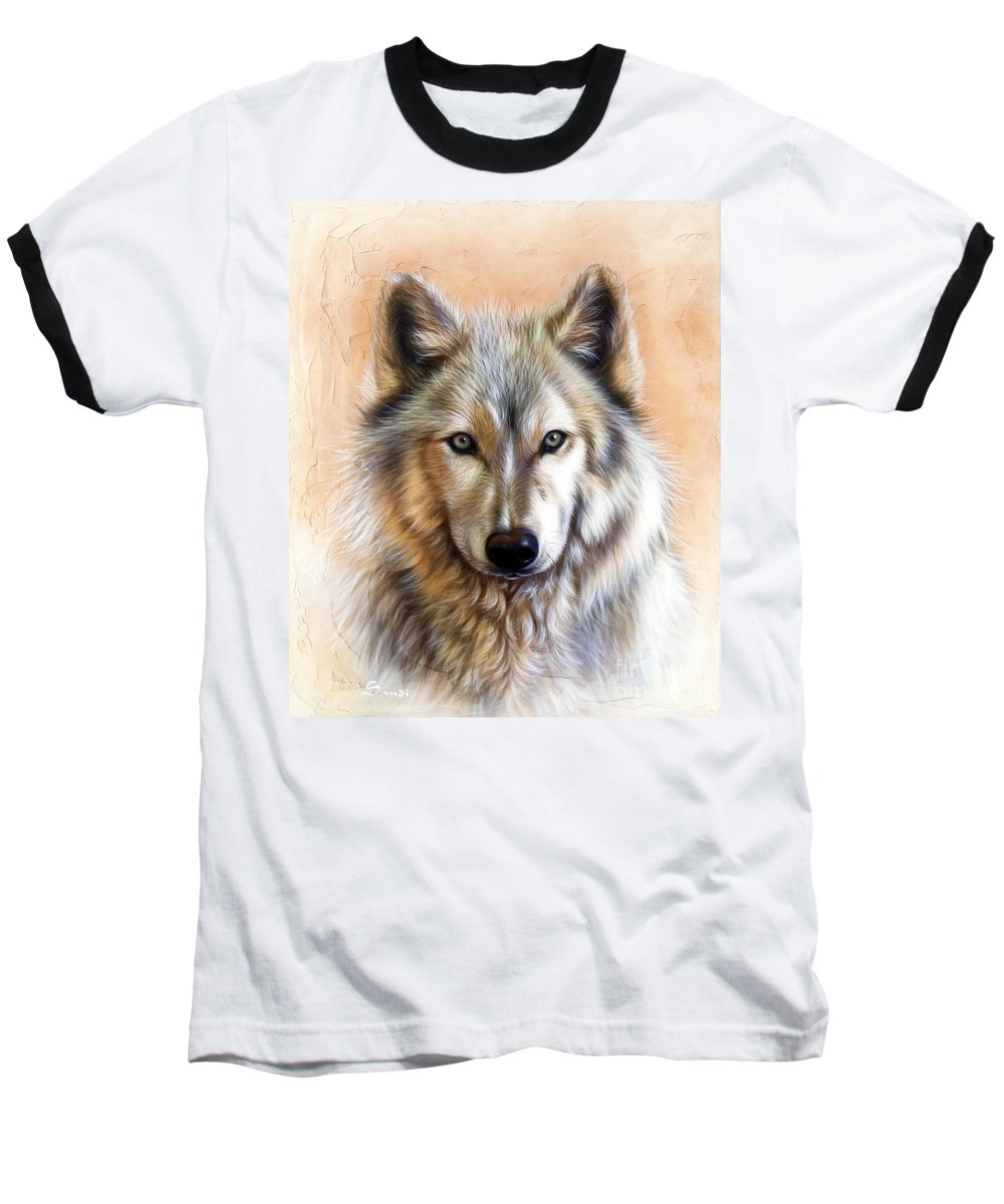 Wolves Baseball T-Shirt featuring the painting Trace Two by Sandi Baker