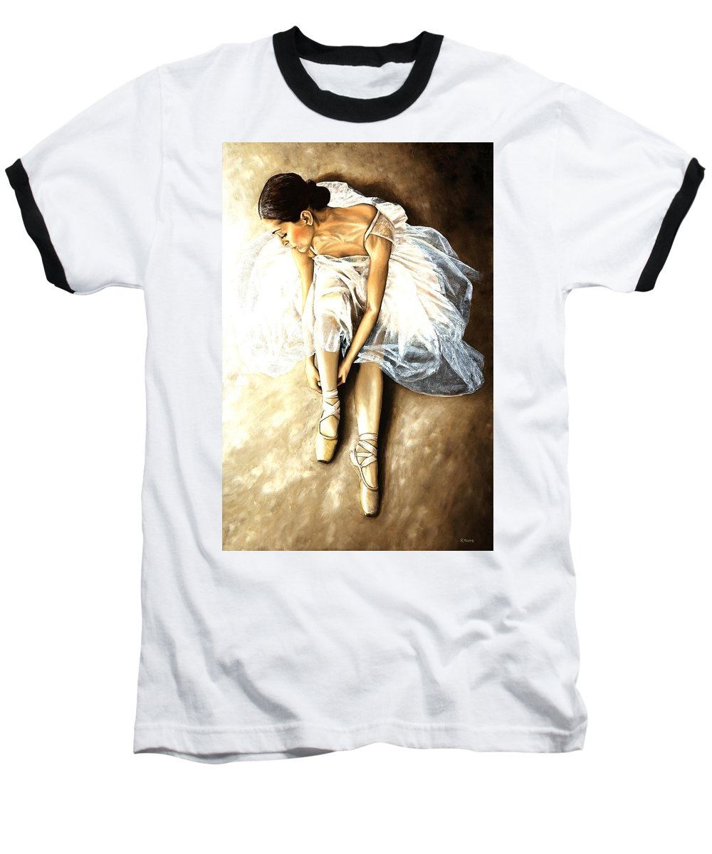 Ballet Baseball T-Shirt featuring the painting Tranquil Preparation by Richard Young