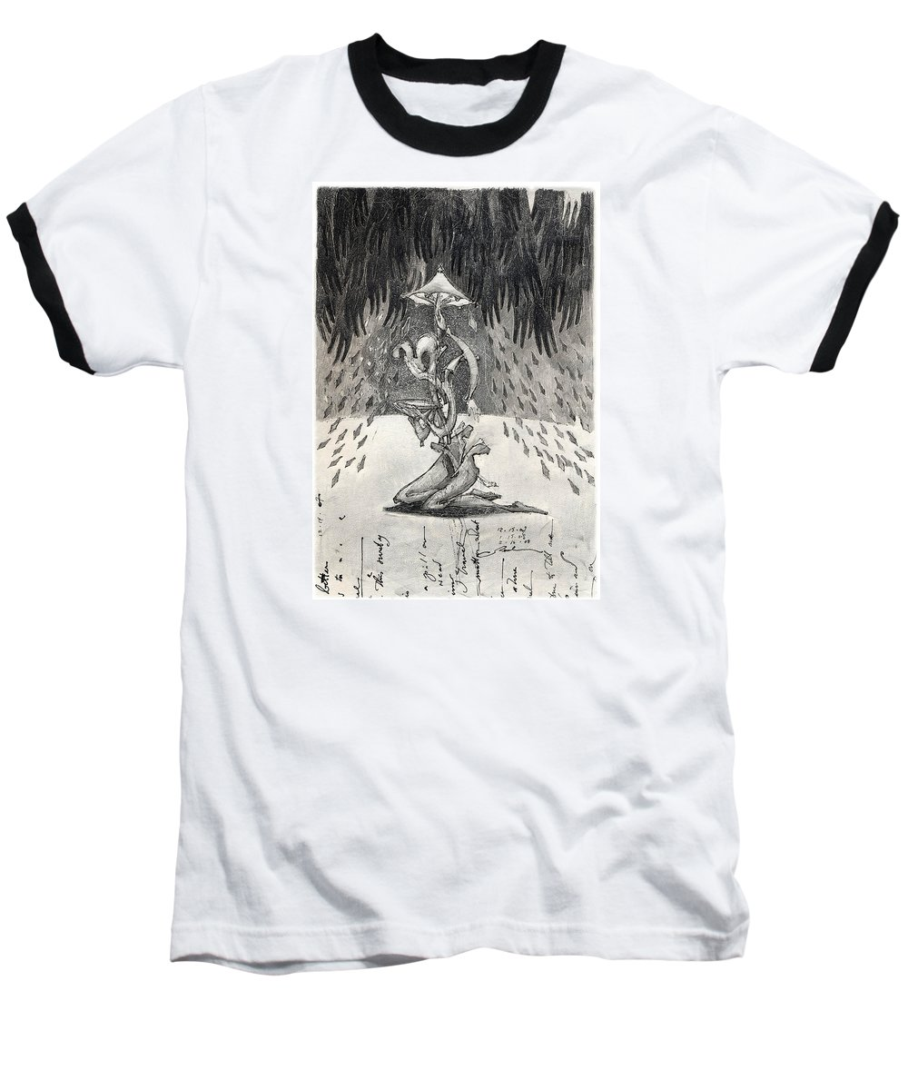Umbrella Baseball T-Shirt featuring the drawing Umbrella Moon by Juel Grant