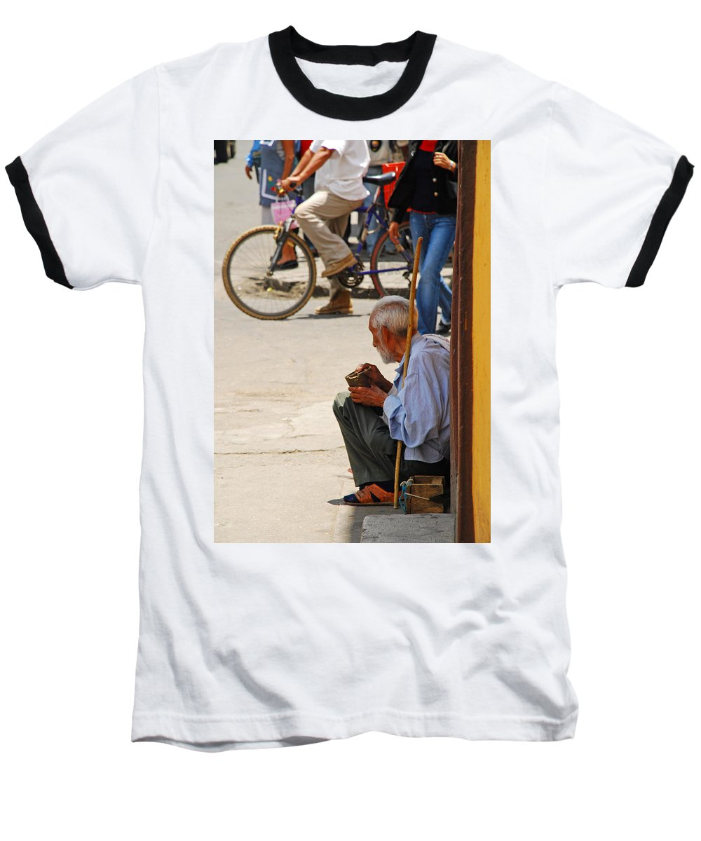 Beggar Baseball T-Shirt featuring the photograph Un Peso Por Favor by Skip Hunt