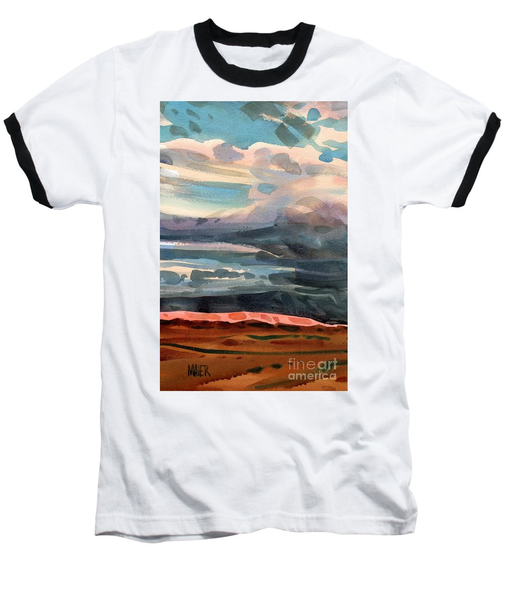 Western Landscape Baseball T-Shirt featuring the painting Utah Skyline by Donald Maier