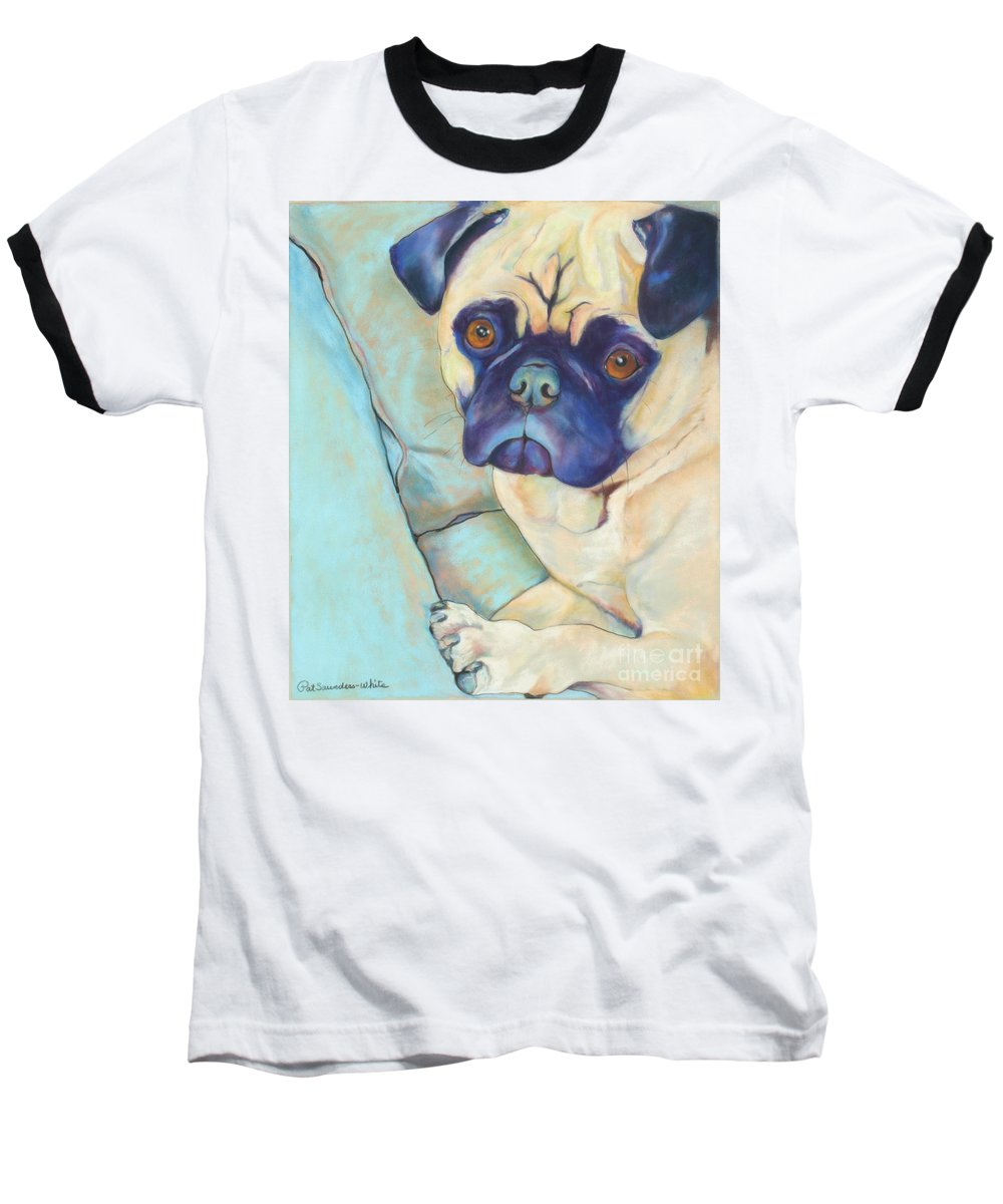 Pug Baseball T-Shirt featuring the pastel Valentino by Pat Saunders-White