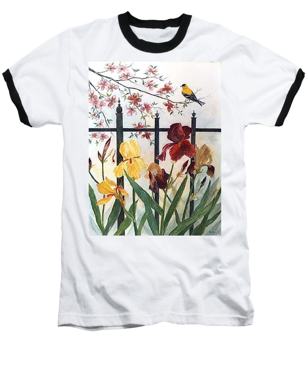 Irises; American Goldfinch; Dogwood Tree Baseball T-Shirt featuring the painting Victorian Garden by Ben Kiger