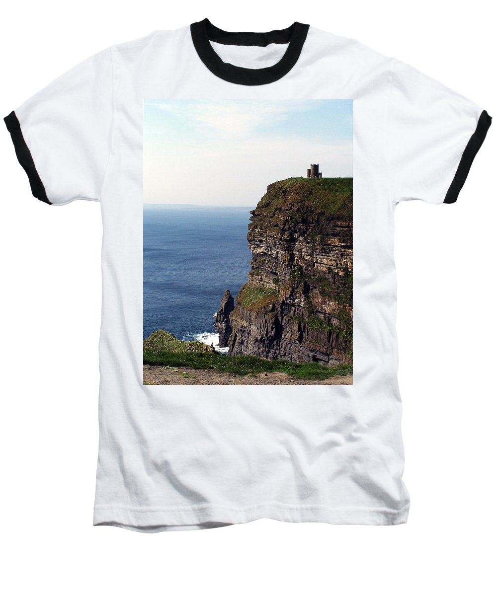 Irish Baseball T-Shirt featuring the photograph View Of Aran Islands And Cliffs Of Moher County Clare Ireland by Teresa Mucha