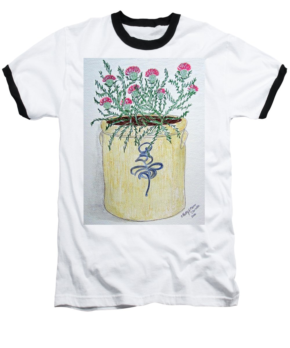 Vintage Baseball T-Shirt featuring the painting Vintage Bee Sting Crock And Thistles by Kathy Marrs Chandler