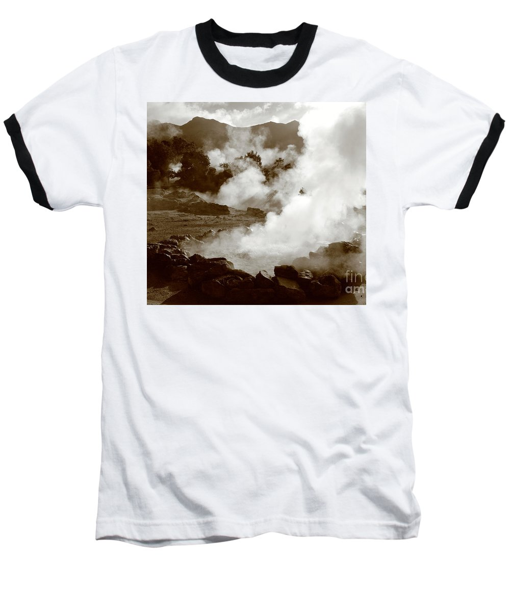 Azores Baseball T-Shirt featuring the photograph Volcanic Steam by Gaspar Avila
