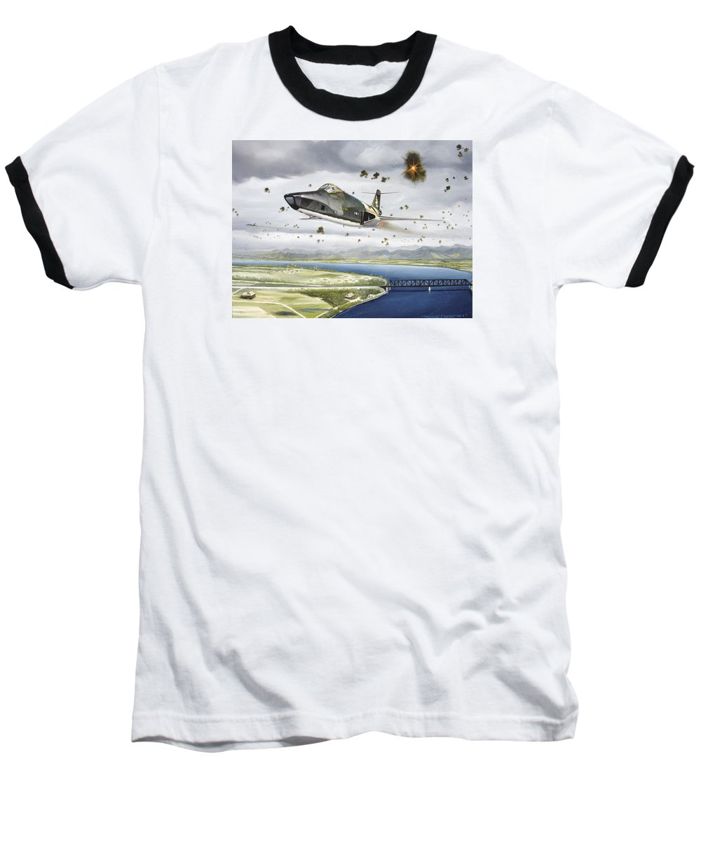 Military Baseball T-Shirt featuring the painting Voodoo Vs The Dragon by Marc Stewart