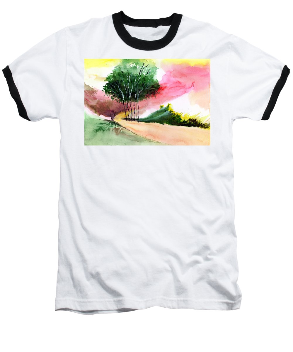 Watercolor Baseball T-Shirt featuring the painting Walk Away by Anil Nene