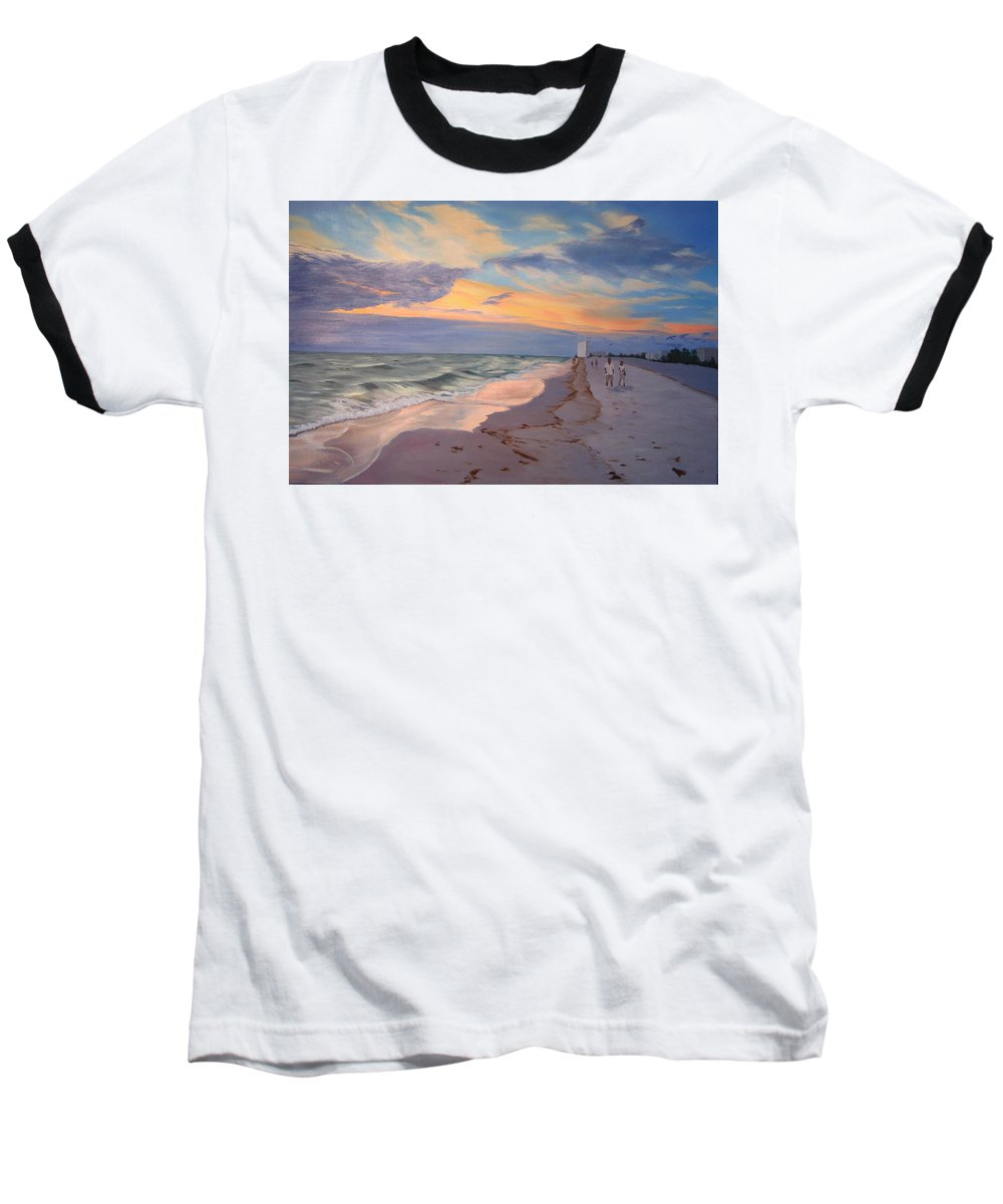 Seascape Baseball T-Shirt featuring the painting Walking On The Beach At Sunset by Lea Novak