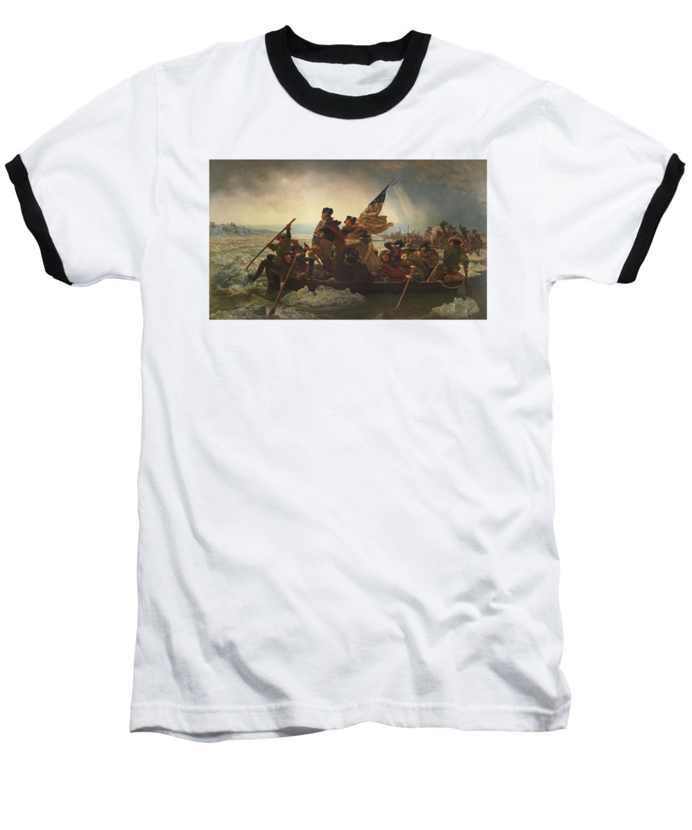 George Washington Baseball T-Shirt featuring the painting Washington Crossing The Delaware by War Is Hell Store