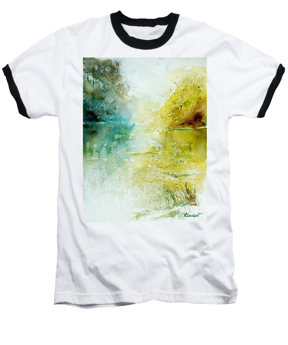 Pond Nature Landscape Baseball T-Shirt featuring the painting Watercolor 24465 by Pol Ledent