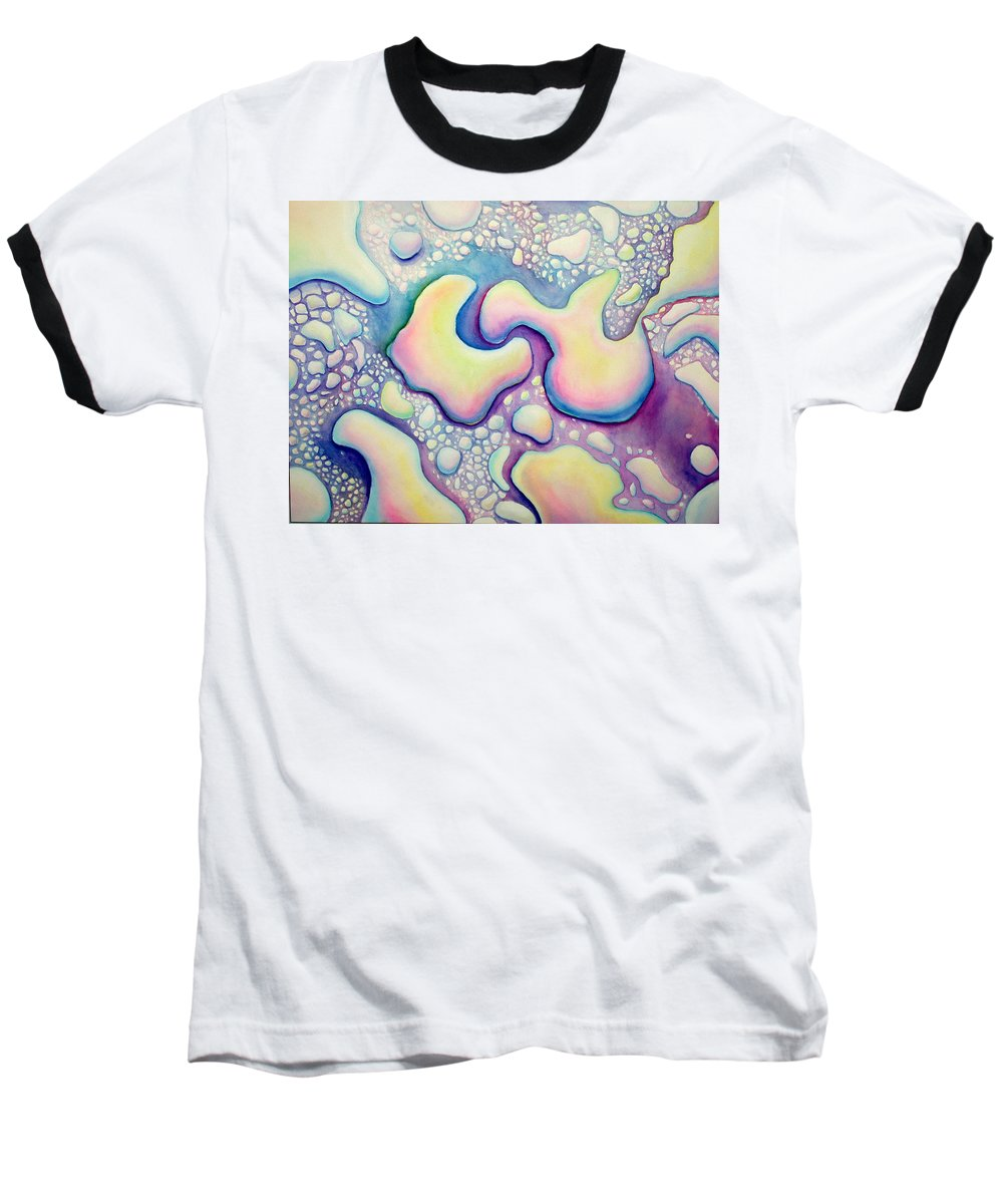 Water Baseball T-Shirt featuring the painting Waterdrop Dance by Nancy Mueller
