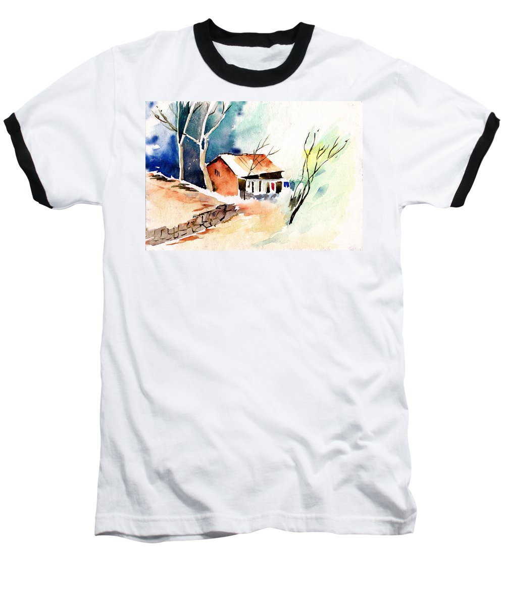 Nature Baseball T-Shirt featuring the painting Weekend House by Anil Nene