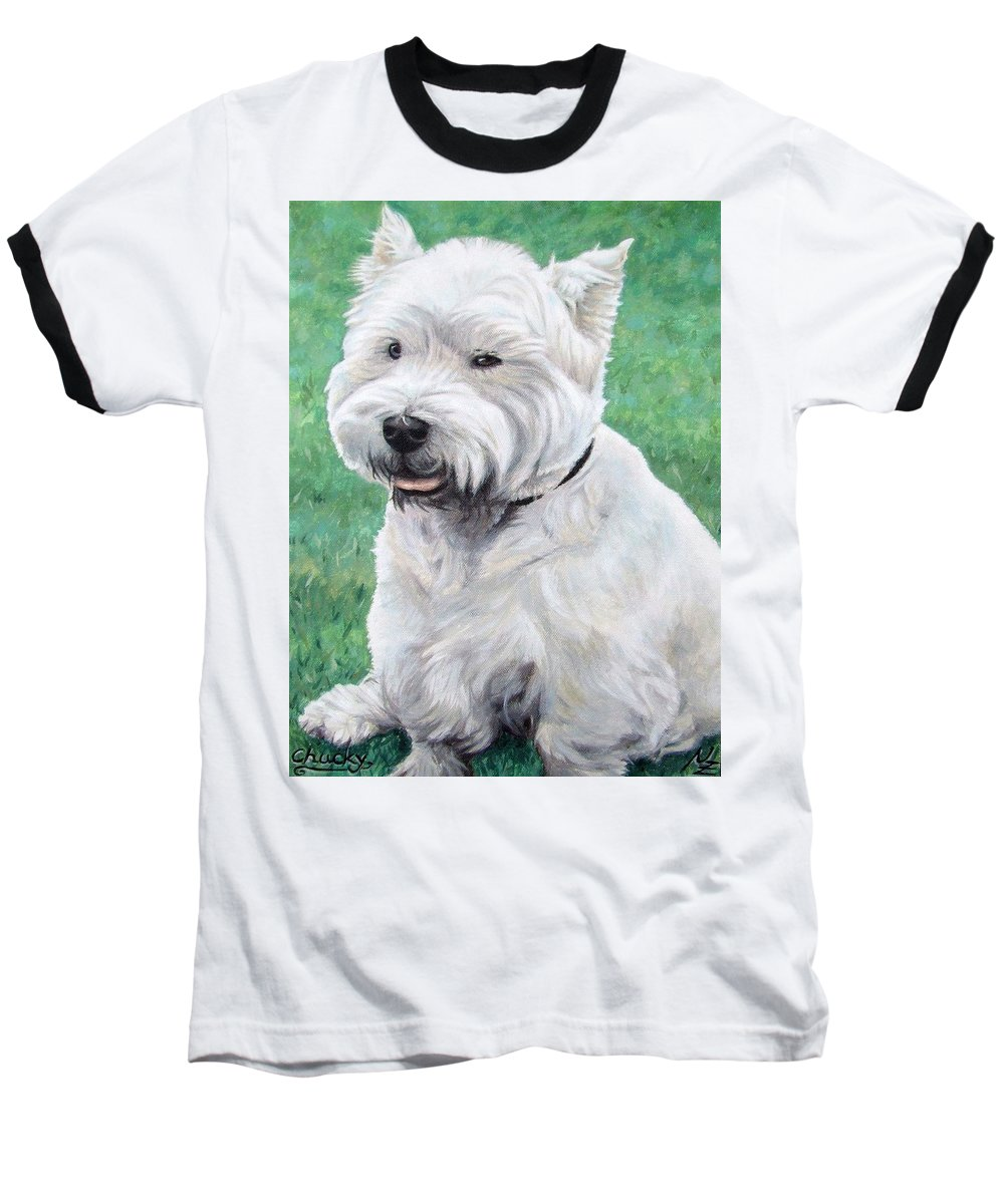 Dog Baseball T-Shirt featuring the painting West Highland Terrier by Nicole Zeug