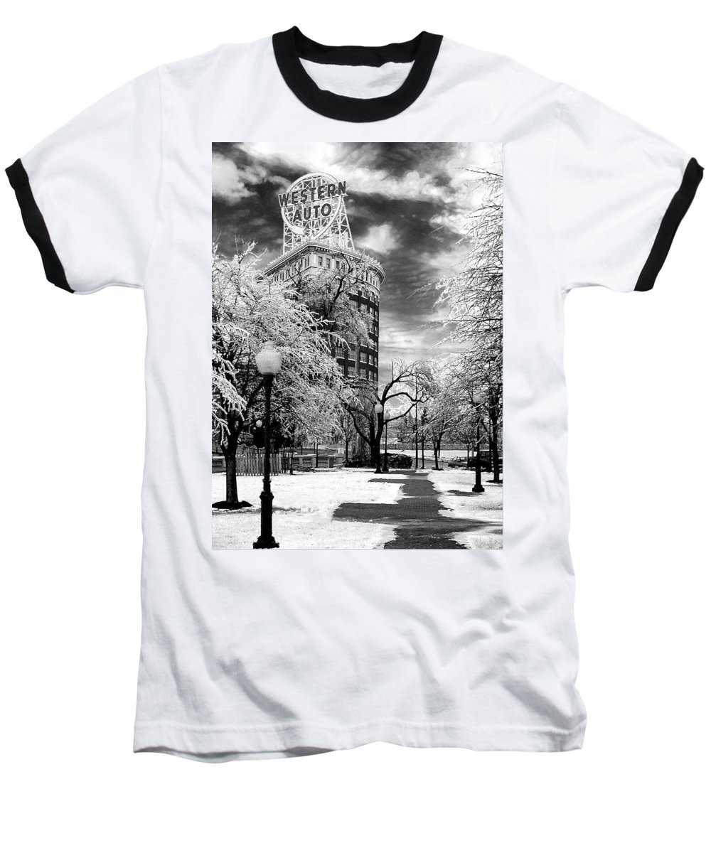 Western Auto Kansas City Baseball T-Shirt featuring the photograph Western Auto In Winter by Steve Karol
