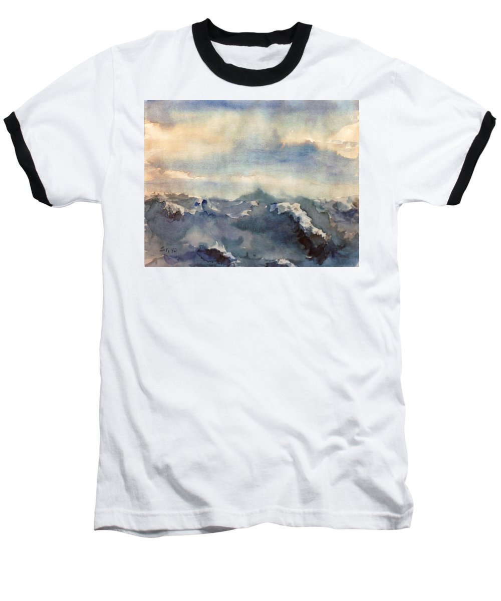 Seascape Baseball T-Shirt featuring the painting Where Sky Meets Ocean by Steve Karol