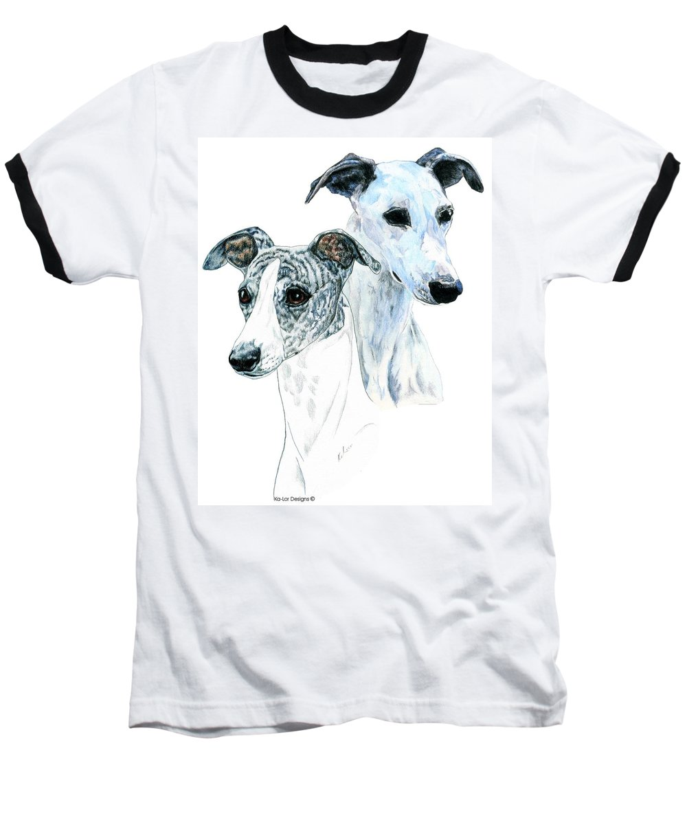Whippet Baseball T-Shirt featuring the painting Whippet Pair by Kathleen Sepulveda