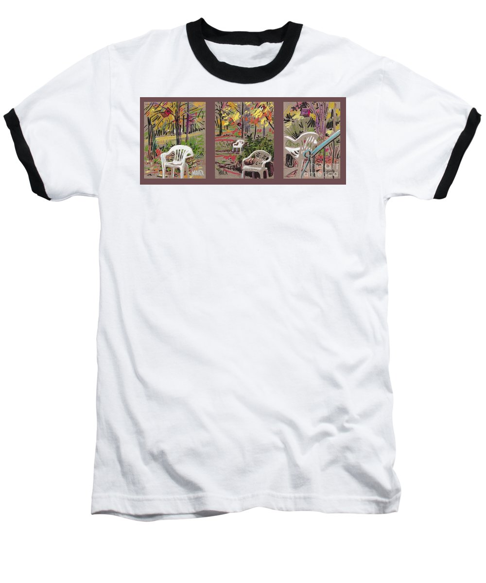 Pastel Baseball T-Shirt featuring the drawing White Chairs And Birdhouses 1 by Donald Maier