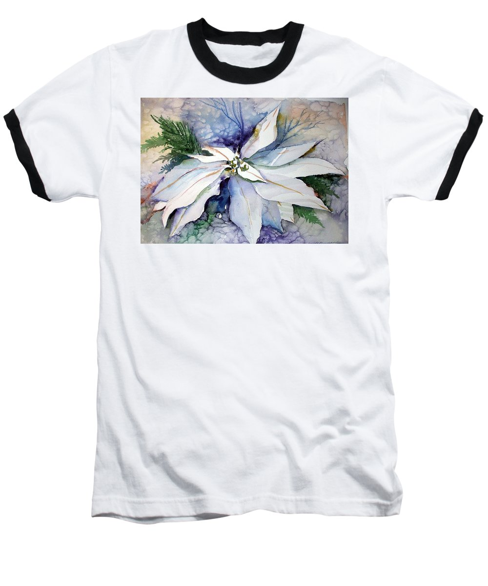 Floral Baseball T-Shirt featuring the painting White Poinsettia by Mindy Newman