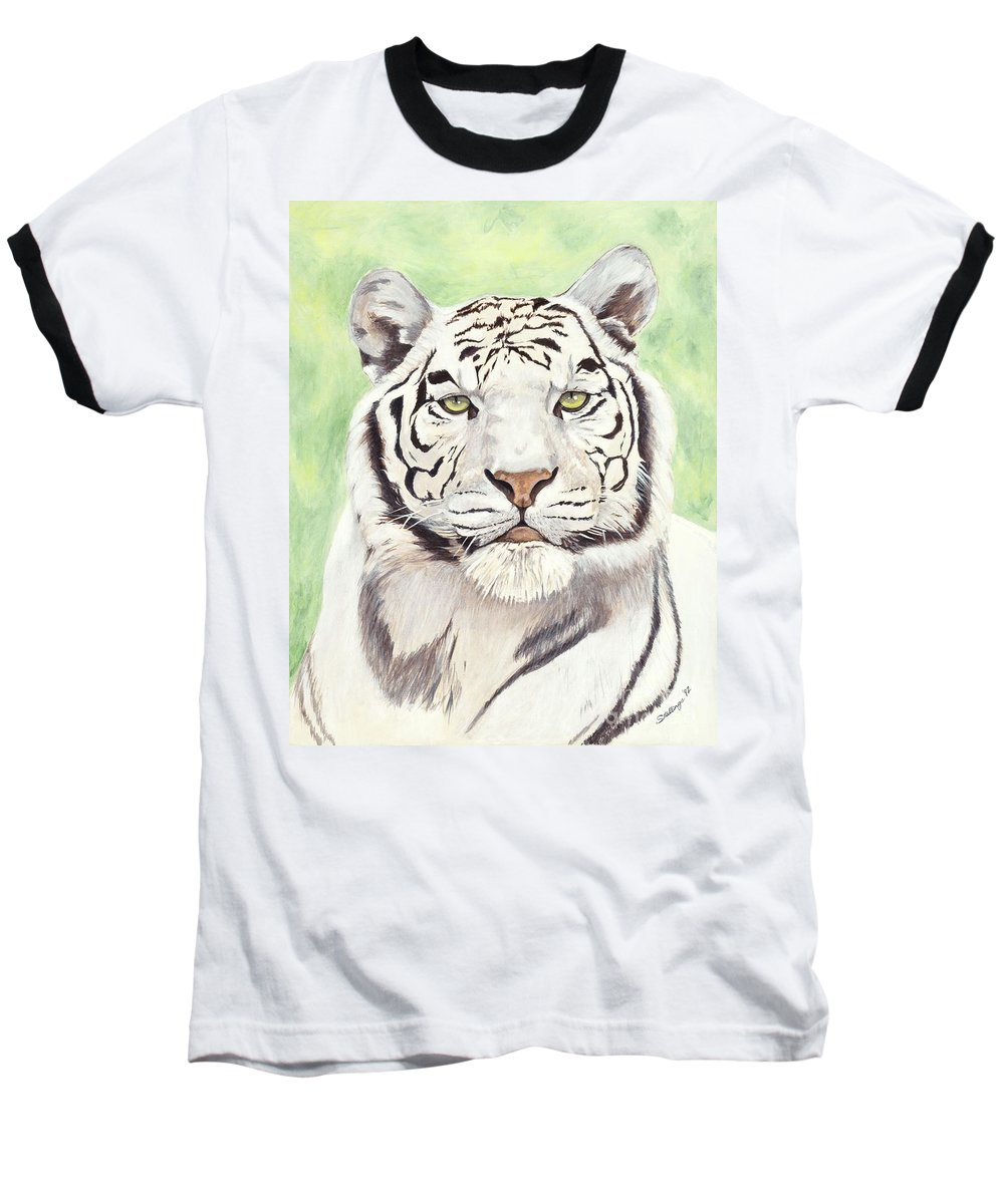 Tiger Baseball T-Shirt featuring the painting White Silence by Shawn Stallings