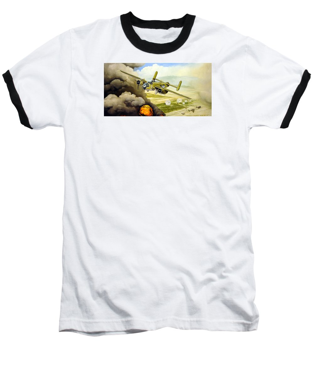 Aviation Baseball T-Shirt featuring the painting Wild Cargo by Marc Stewart