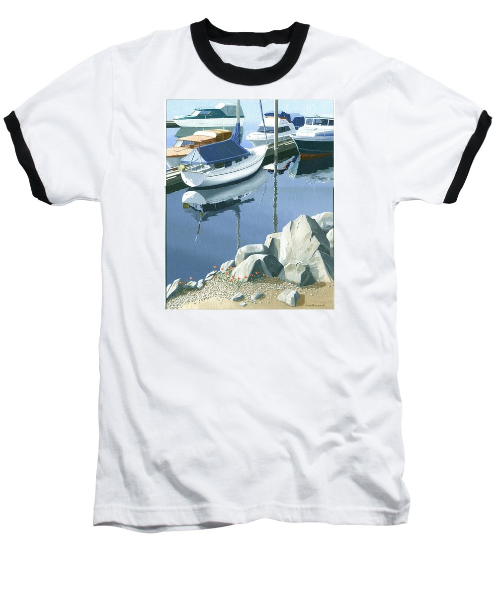 Sailboat Baseball T-Shirt featuring the painting Wildflowers On The Breakwater by Gary Giacomelli