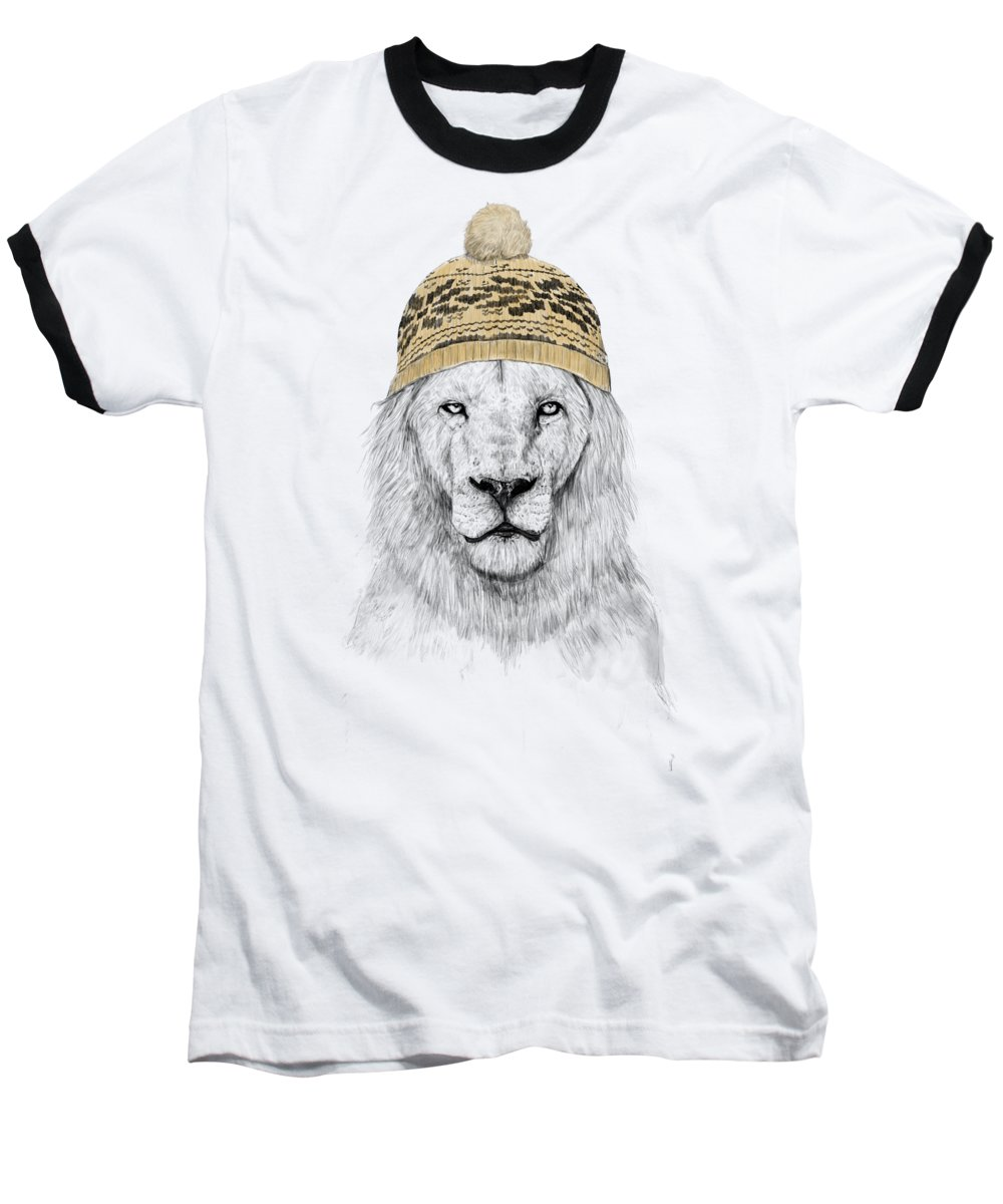 Lion Baseball T-Shirt featuring the mixed media Winter Is Coming by Balazs Solti