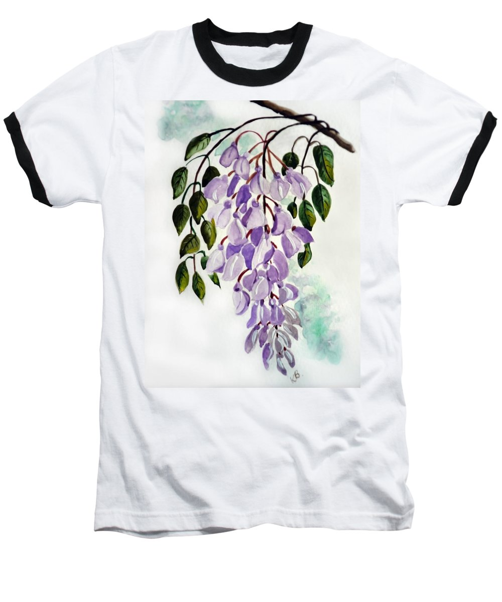 Floral Paintings Flower Paintings Wisteria Paintings Botanical Paintings Flower Purple Paintings Greeting Card Paintings  Baseball T-Shirt featuring the painting Wisteria by Karin Dawn Kelshall- Best