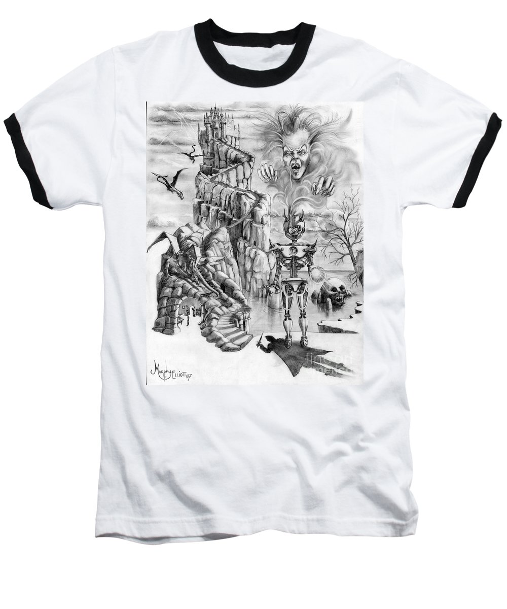 Witch Baseball T-Shirt featuring the drawing Witch Hunter by Murphy Elliott