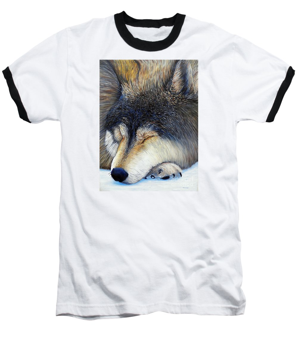Wolf Baseball T-Shirt featuring the painting Wolf Dreams by Brian Commerford