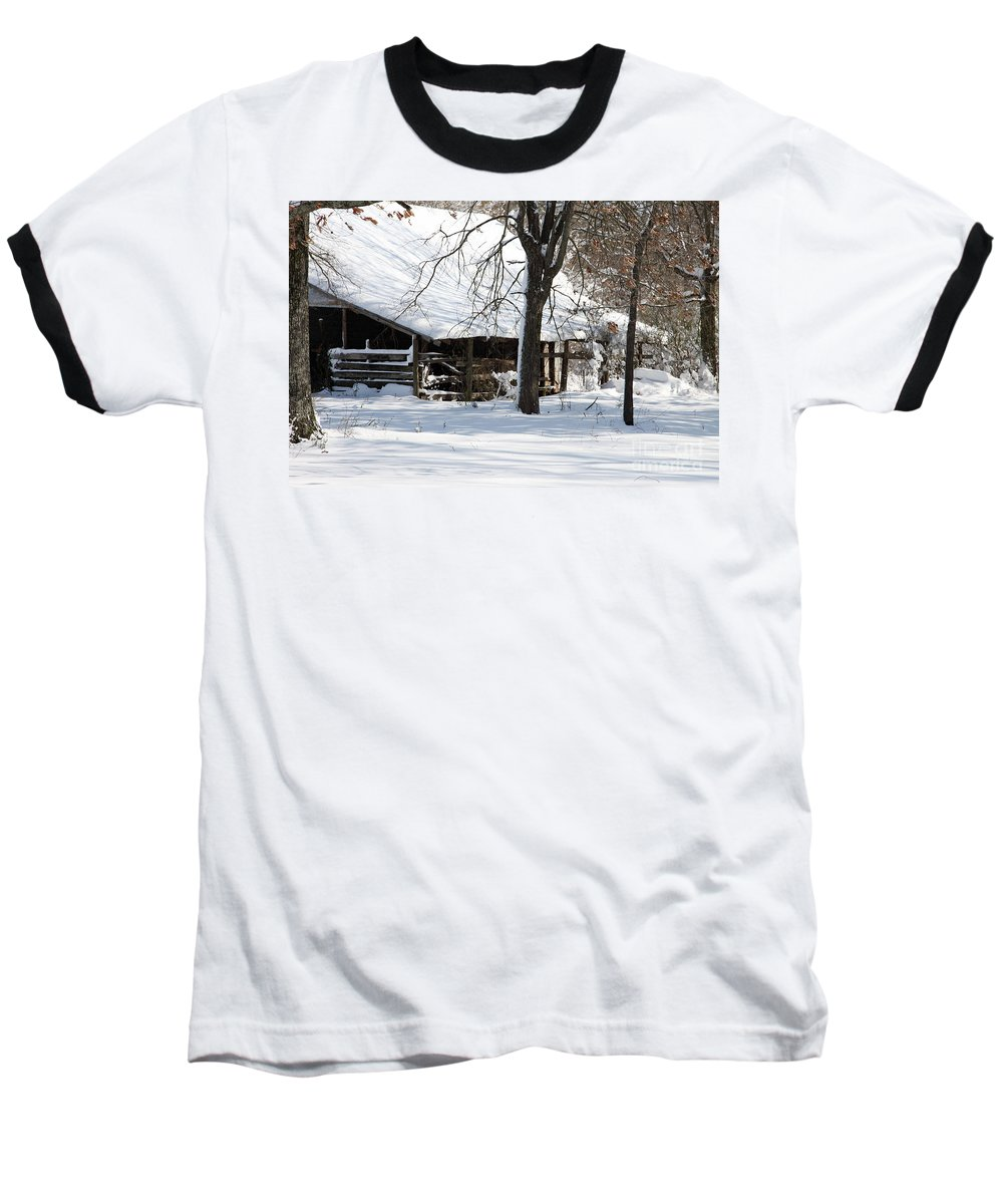 Rural Baseball T-Shirt featuring the photograph Wrapped In Silence by Amanda Barcon