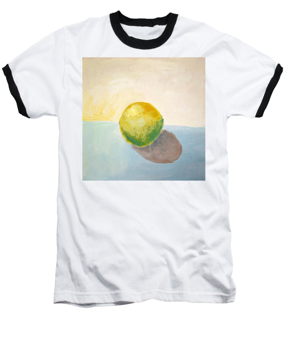 Lemon Baseball T-Shirt featuring the painting Yellow Lemon Still Life by Michelle Calkins