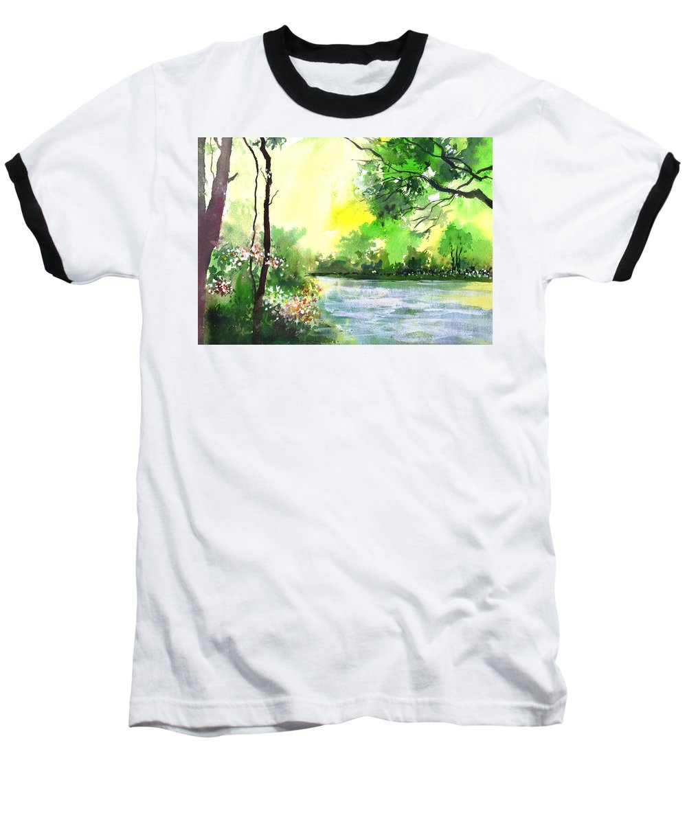 Sky Baseball T-Shirt featuring the painting Yellow Sky by Anil Nene