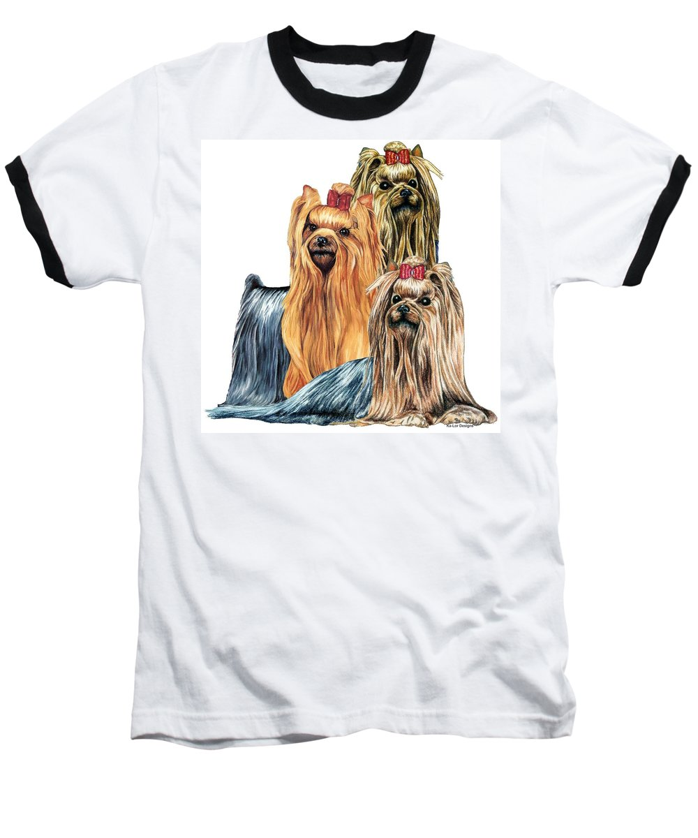 Yorkshire Terrier Baseball T-Shirt featuring the drawing Yorkshire Terriers by Kathleen Sepulveda