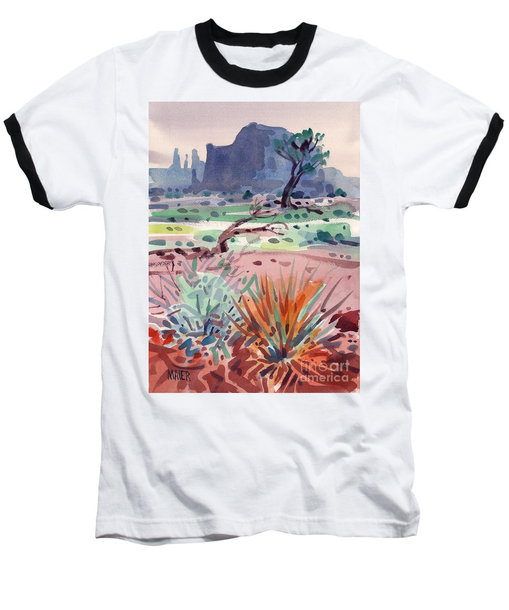 Monument Valley Baseball T-Shirt featuring the painting Yucca And Buttes by Donald Maier