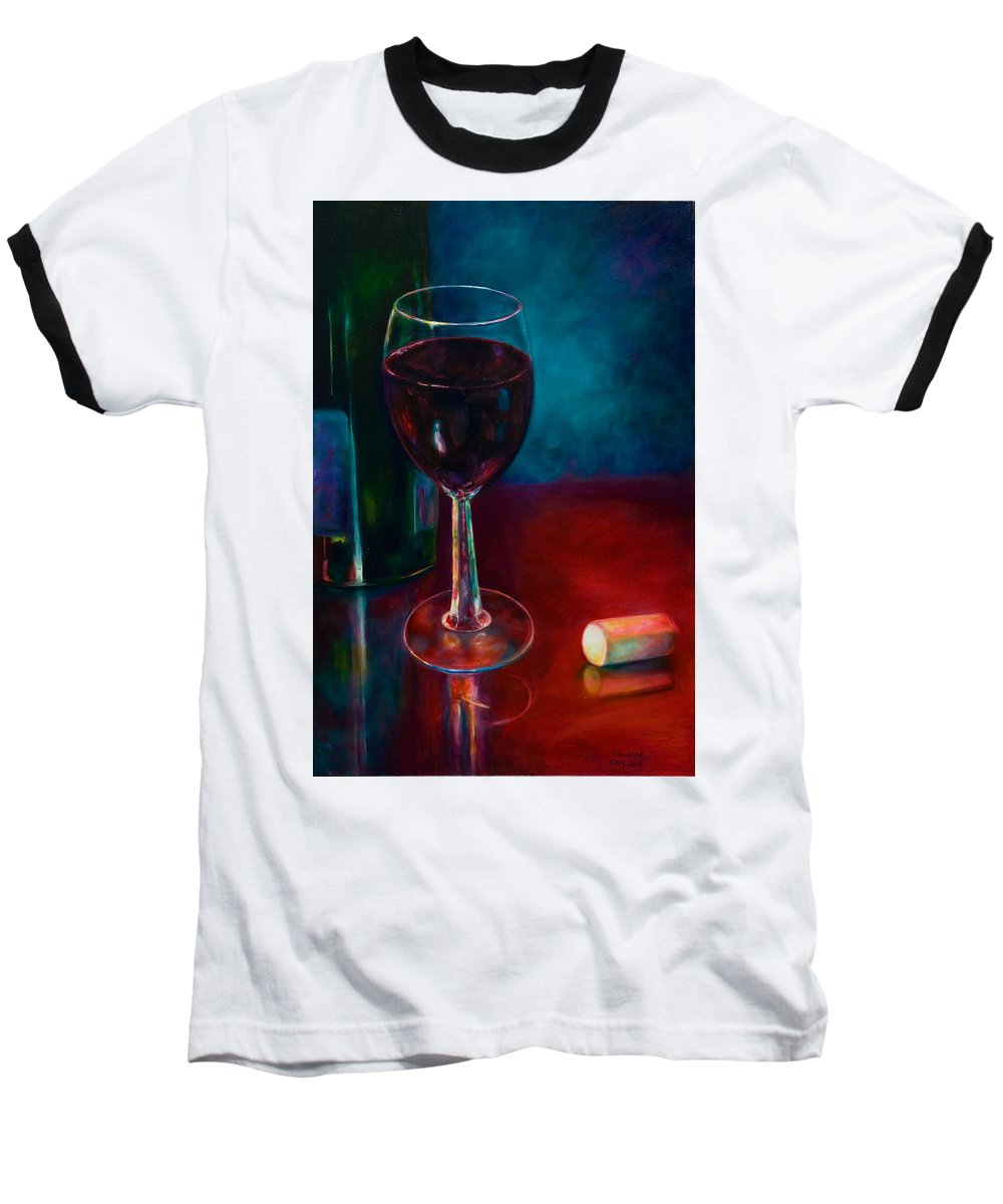 Wine Bottle Baseball T-Shirt featuring the painting Zinfandel by Shannon Grissom