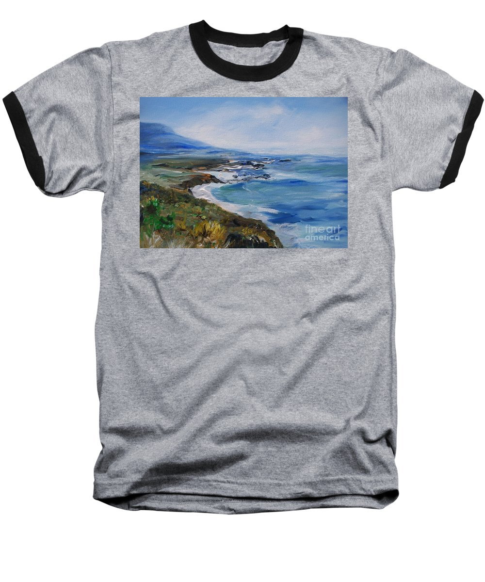 California Coast Baseball T-Shirt featuring the painting Big Sur Coastline by Eric Schiabor