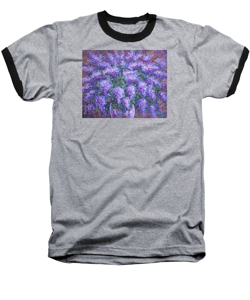Flowers Baseball T-Shirt featuring the painting Scented Lilacs Bouquet by Natalie Holland