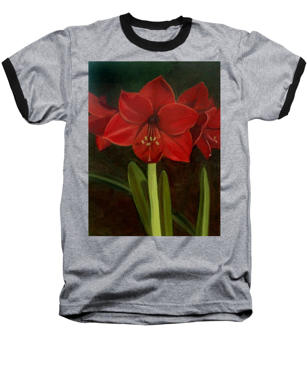Amaryllis Baseball T-Shirt featuring the painting Amaryllis by Nancy Griswold
