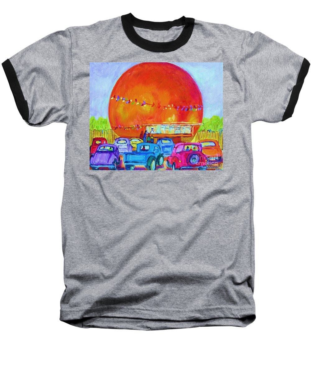 Cars Baseball T-Shirt featuring the painting Antique Cars At The Julep by Carole Spandau