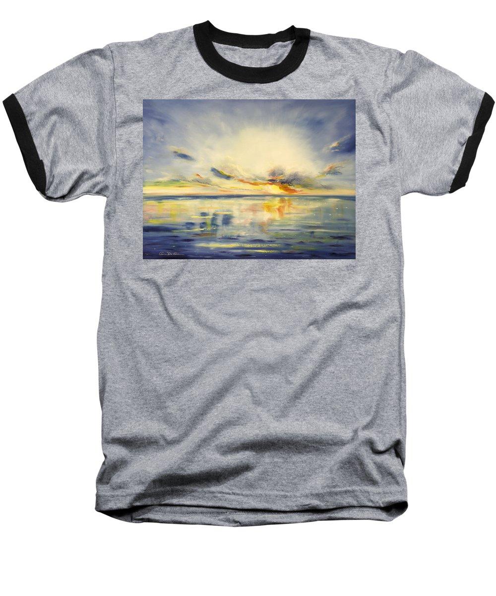 Blue Baseball T-Shirt featuring the painting Blue Sunset by Gina De Gorna